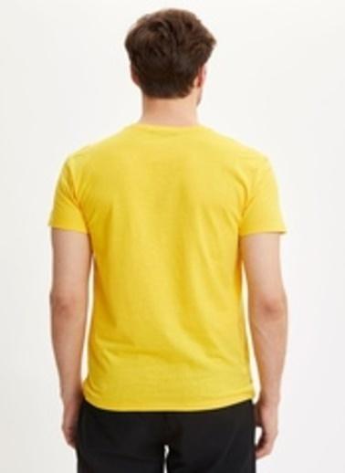 DeFacto Toronto Baskılı Bisiklet Yaka Slim Fit Pamuklu Tişört Sarı